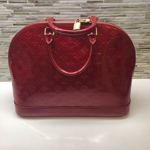 Louis Vuitton Alma GM Red Vernis Leather Purse